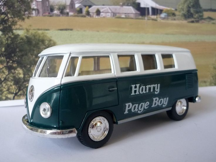 Wedding Day Personalised Page Boy Usher Name Gift Toy Green  VW Camper Bus