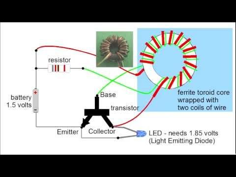 Step-by-step run through of how a Joule Thief circuit works. Includes how all the parts, the 1.5 volt AA battery, the resistor, the transistor and the ferrite core with its two coils of wire work together to build up energy in a magnetic field which then collapses to produce enough voltage and current to light an LED (Light Emitting Diode.) This...