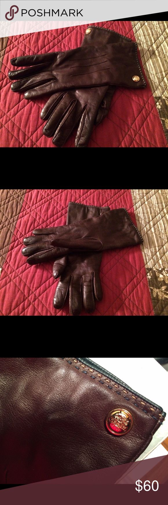 Black leather gloves with red buttons - Coach Brown Leather Gloves New Listing These Gloves May Have Been Used Once Or Twice