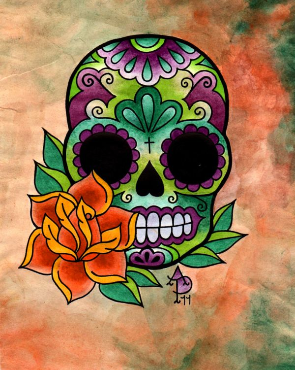 Sugar Skull and Rose