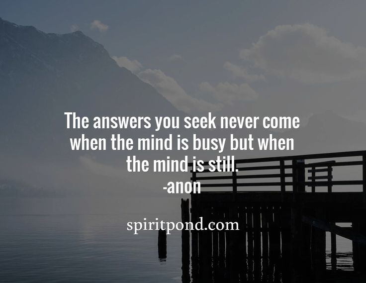 The answers you seek never come  when the mind is busy but when the mind is still.  -anon / spiritpond.com
