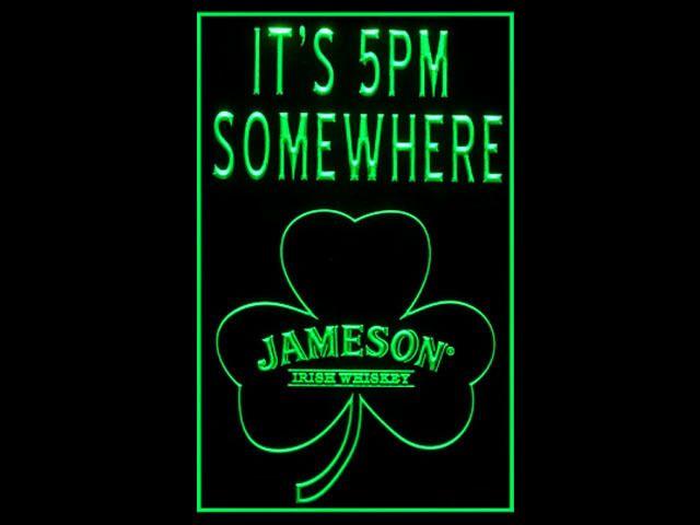 Jameson Whiskey Shamrock Its 5pm Pub Tall Light Sign