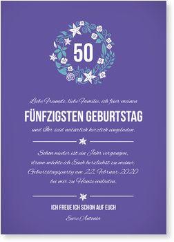 Kleiner Blumenkranz in Lila Einladung zum Geburtstag: 1. - 111. Geburtstag
