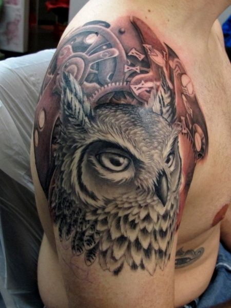 Owl Clockwork Tattoo~  Could I actually get a tattoo??? This would be a ggoodd one....