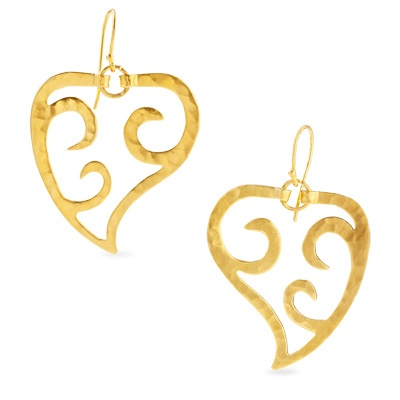 Heather Benjamin Paisley Wave Earrings in 22K Gold Vermeil