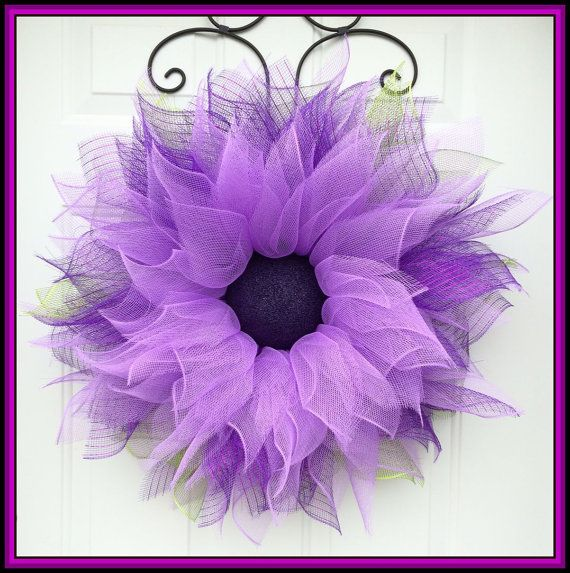 Purple Flower Wreath by A Noble Touch by ANobleTouch on Etsy
