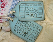 Baby Shower Favor Tags - Baby Boy Gift Tags - Blue and Brown - Baby Shower Tags