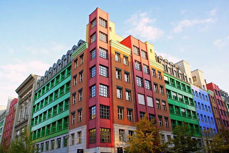 Sottsass cited Aldo Rossi and le Corbusier as as inspirations...Aldo Rossi building, Berlin.
