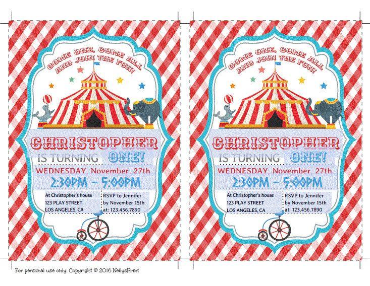 Circus Birthday Invitation, Circus Party Invitation, Circus Party, Self Editable PDF file, Instant Download, Boy, Circus Invitation