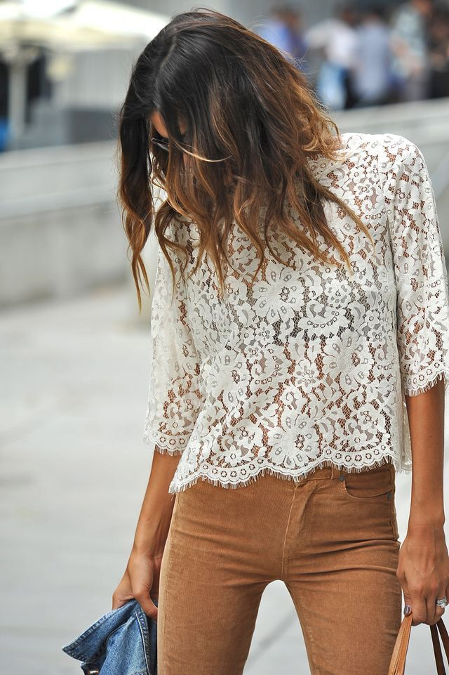 Lace top + camel pant.