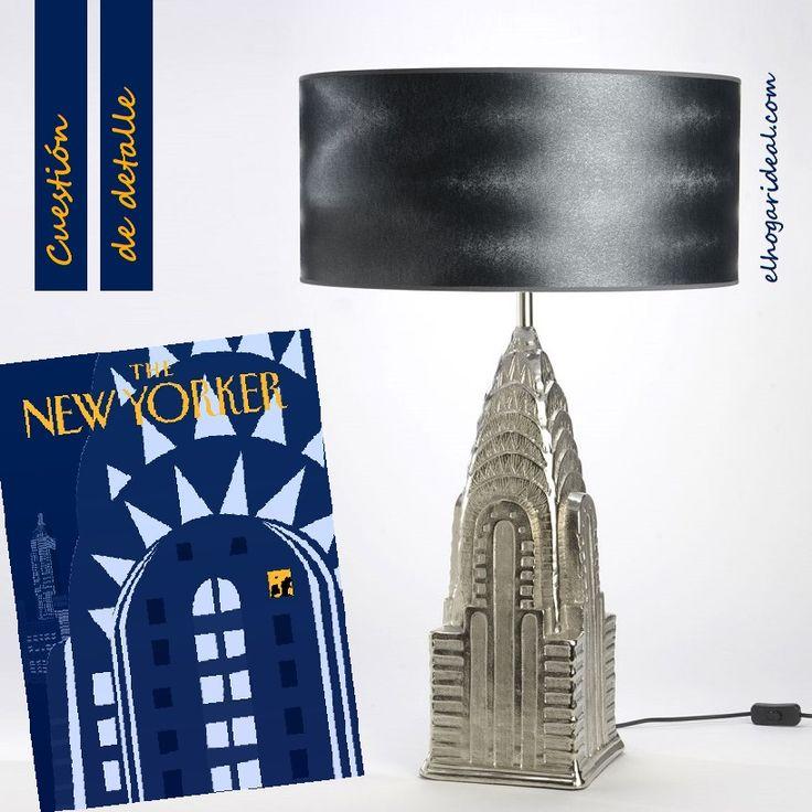 Original lámpara de mesa con la silueta del mítico edificio Chrysler de Nueva York. El pie es cerámico y la tulipa de tela. http://elhogarideal.com/es/iluminacion/1012-lampara-de-lectura-chrysler-building.html#.VgzMSXrtmko