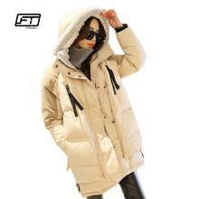 Зима Утка Вниз Пальто Женщин Свободные Средней Длины С Капюшоном Куртки Случайный Военные Парки Пальто Утолщение Плюс Размер Snowwear(China (Mainland))