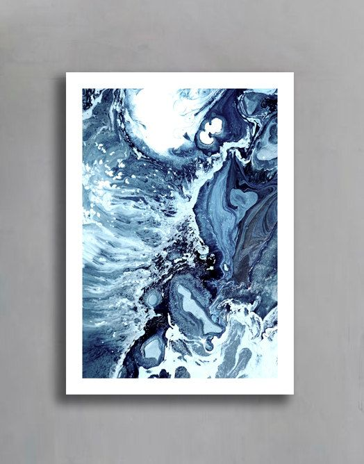 waves v print paint acrylic abstract fluid painting wall art home decor digital print instant download unframed or framed print