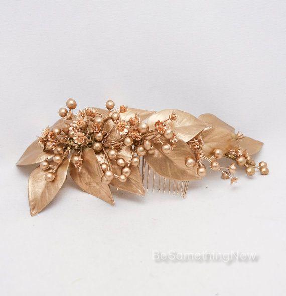 Pettine di nozze oro foglia con bacche oro bambini alito, decorativo da sposa capelli pettine, copricapo di nozze d