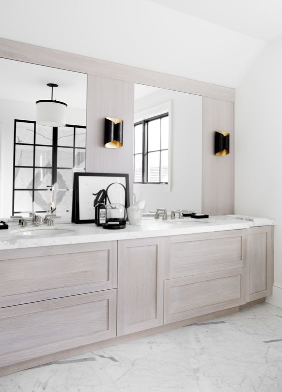 tour a 10 bedroom hamptons home inspired by european farmhouses wood bathroombathroom sconcesvanity - Bathroom Cabinet Ideas Design