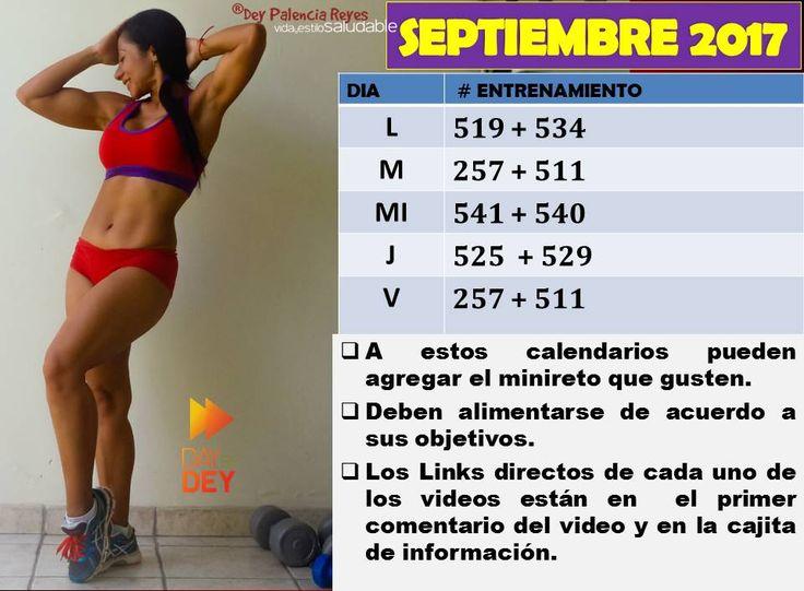 Calendario de entrenamiento Septiembre 2017 con Dey Palencia Reyes #deypalenciareyes