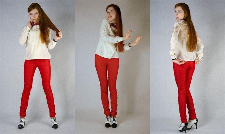 Модные узкие красные брюки