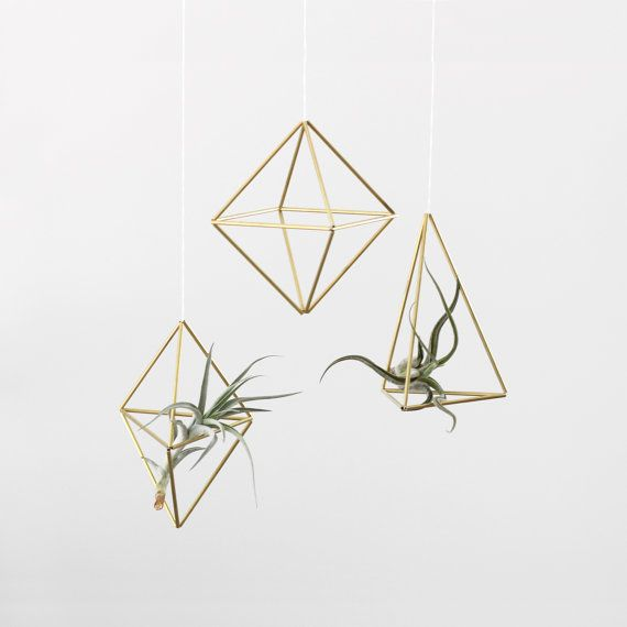 Set of 3 // Brass Himmeli Air Plant Holders / Hanging Mobile / Geometric Ornament / Minimalist Home Decor
