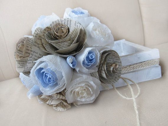 Rustic Bride Bouquet Wedding Flowers Crepe Paper by moniaflowers