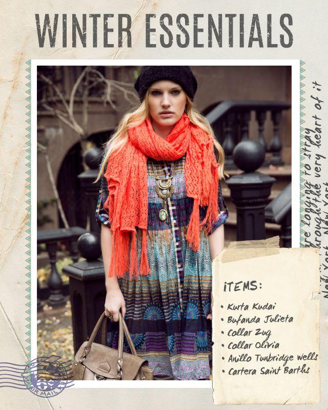 Kurta Kudai / Bufanda Julieta / Collar Zug / Collar Olivia / Anillo Tunbridge wells / Cartera Saint Barths #winteressentials #indiastyle