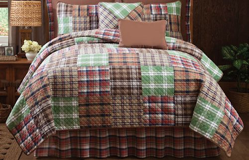 Tween Bedding Sets for Boys | Red Brown Plaid Teen Boy Bedding Twin Full/Queen Quilt Sets Patchwork