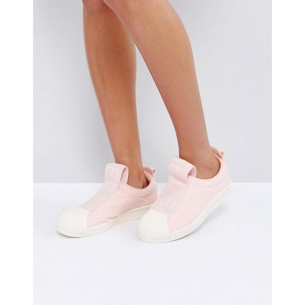 adidas Originals Pink Superstar Slip On Trainers With Bold Strap (365 BRL) ❤ liked on Polyvore featuring shoes, sneakers, pink, pink jersey, adidas high tops, adidas trainers, slip-on shoes and high top slip on sneakers