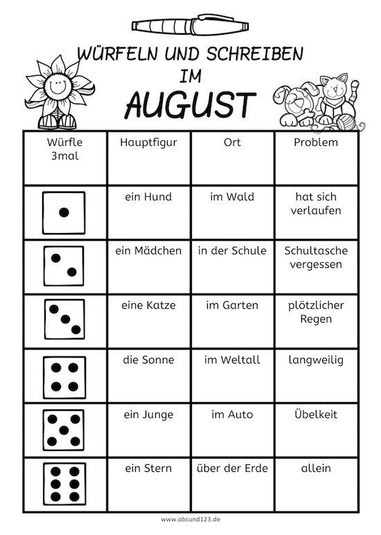 Würfeln und Schreiben im August