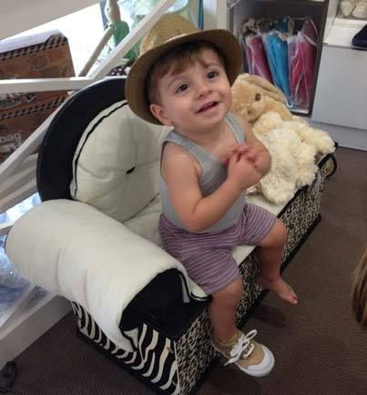 Little man Connor having fun in store at Bon Bon Tresor