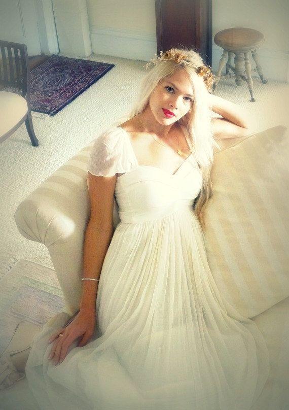 Odessa Sweetheart boho hippie wedding dress with cap by dahlnyc