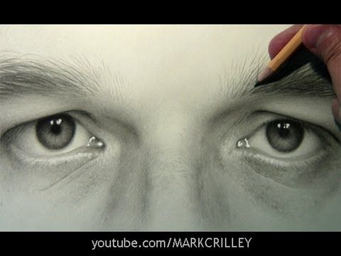 Self Portrait: Eyes ... Mark Crilley using a #2 pencil, with just a bit of charcoal or dark graphite and white.