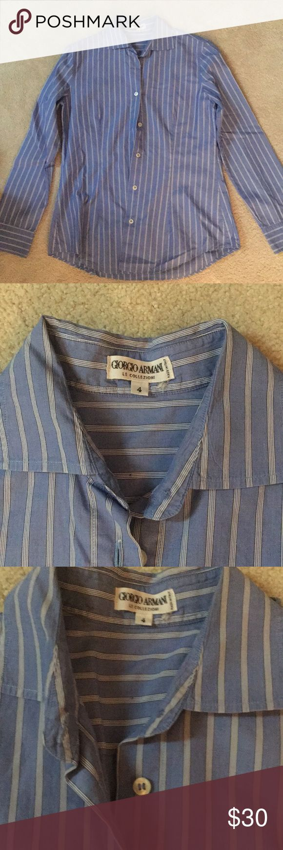 Giorgio Armani Oxford Button down Size 4 Size 4-EURO Size Made in Italy blue with white stripes No marks or imperfections Would fit small petite woman or young girl Giorgio Armani Tops Button Down Shirts