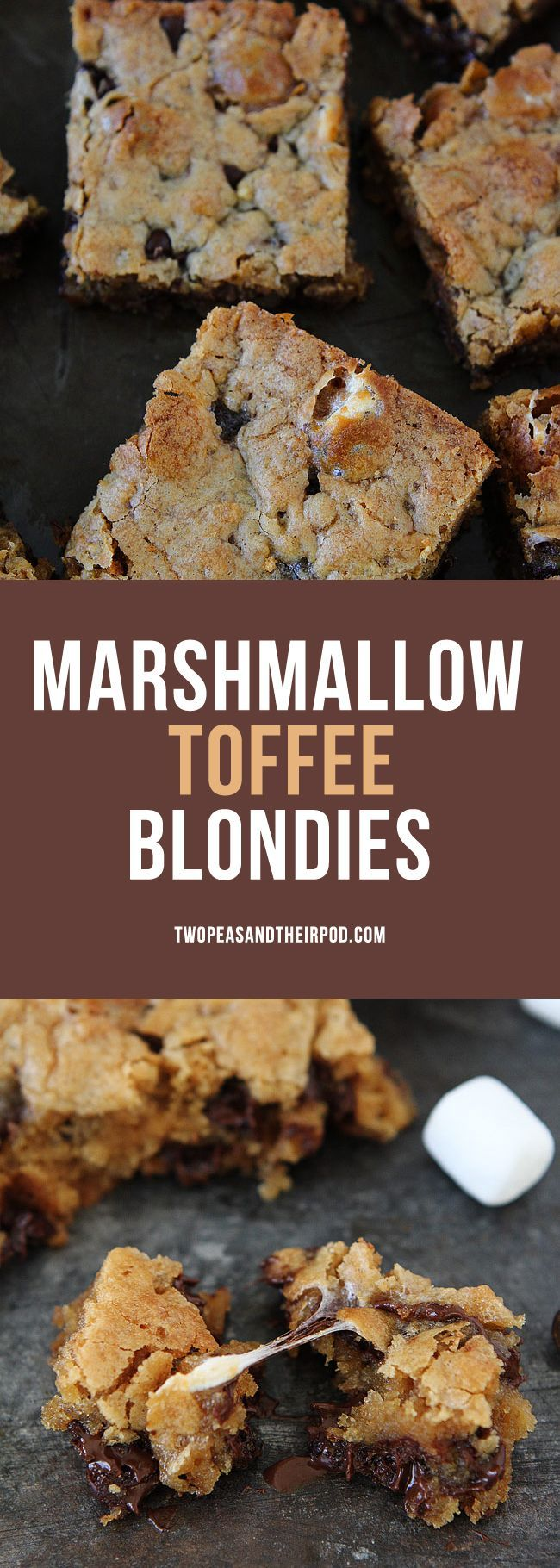 Marshmallow Toffee Blondies-easy blondies with marshmallows, toffee, and chocolate chips. These chewy blondies make a great dessert for parties, game day, or any day!