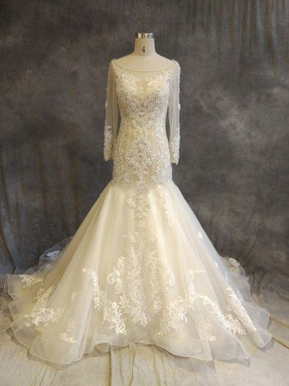 Organza Tulle Scoop Neck Trumpet/Mermaid Chapel Train with Appliques Lace Wedding Dresses #UKM00022918