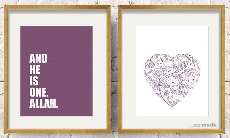Printable Modern Islamic Allah Typography Design Art Love Heart Set of 2, purple. Muslim design