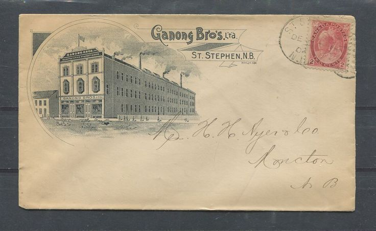 Business envelope for the Ganong Brothers confectionery company of St. Stephen, New Brunswick. This company is still in business today and is headquartered in St. Stephen on 1 Chocolate Drive. This envelope was sent to the Ayer & Co. in Moncton in 1902 - 114 years ago.