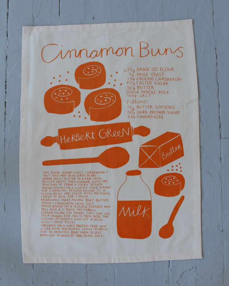 Screen printed by hand on organic cotton each tea towel features a different bread recipe and can be used to cover the bowl while the bread is