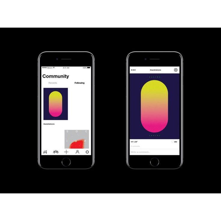 Feed and detailed work screens.  #white #jetblack #black #minimal #designer #webdesign #ios #iphone #ui #ux #app #mobile #graphicdesign #behance #dribbble #design