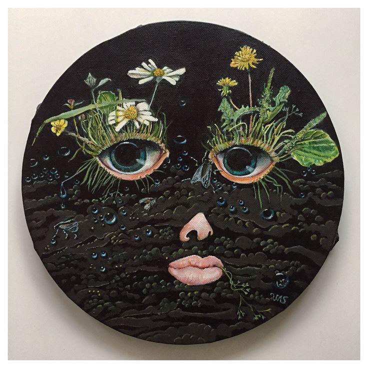 SOIL 30cm #tondo #canvas #acrylic #painting #newcontemporaryart #contemporaryart #black