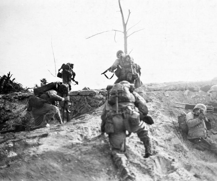 Marine Infantry with Thompson and M1 Carbine Okinawa April ...