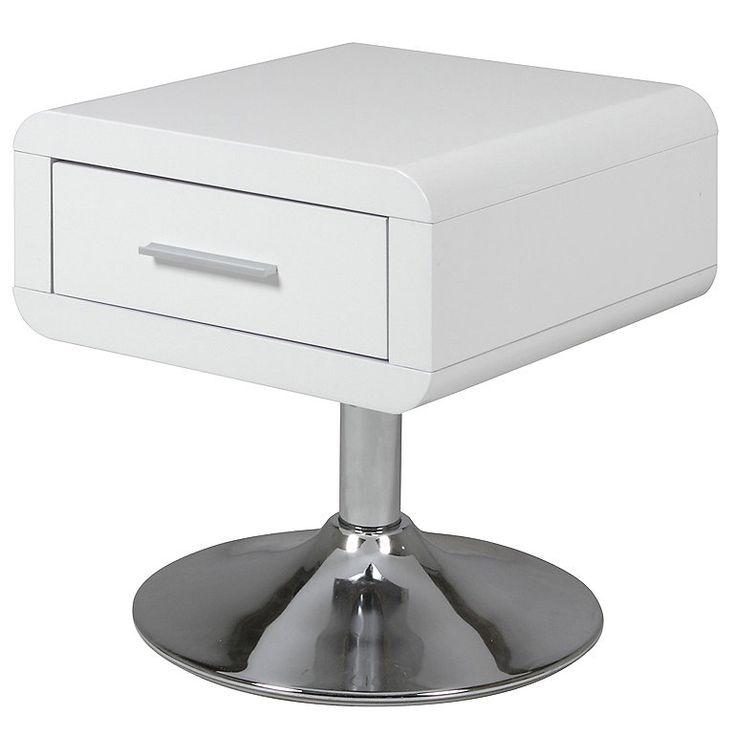 Synoun Nachttisch mit 1 Schublade weiß Hochglanz und Chromfuß »Aliva«