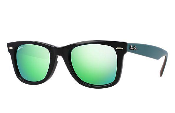 Ray-Ban 0RB2140-ORIGINAL WAYFARER BICOLOR Black  Green,Brown SUN ... 9ba0a02e3d09
