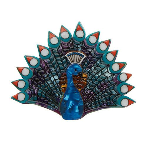 Penelope Peacock Brooch by Erstwilder | Quirks of Art | USA Stockist