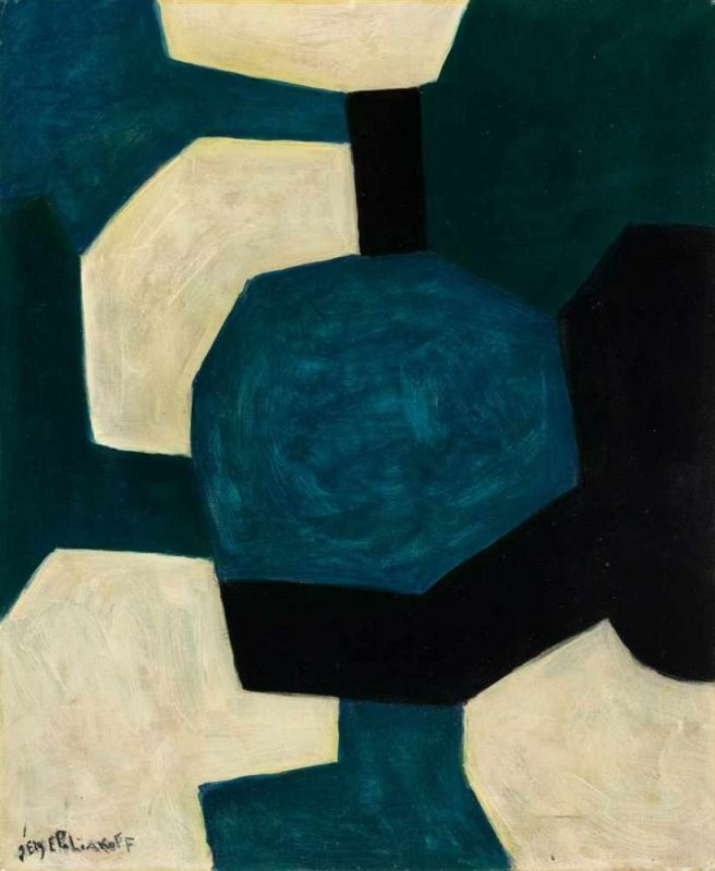 """amare-habeo: """"  Serge Poliakoff (Russian-French, 1900-1969) Abstract composition, 1961 Oil on canvas, 73 x 60 cm """""""