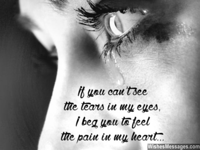 If you can't see the tears in my eyes, I plead you to feel the pain in my heart. via WishesMessages.com