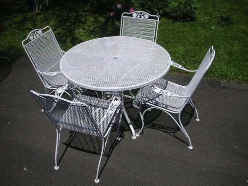 5pc Quotwoodardquot Fancy Wrought Iron Patio Table Four