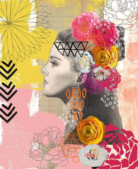 I Am Beauty- Bohemian Girl Digital Art Print - a Girl and Her Brush -Wendy Brightbill