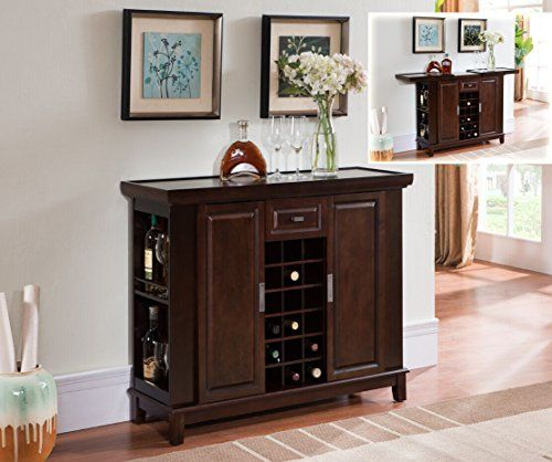 Kings Brand Walnut Finish Wood Wine Cabinet Breakfront