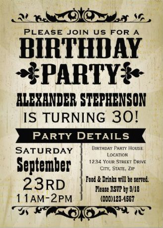 Custom Rustic Vintage Mens Birthday Invitations Easy To Customize