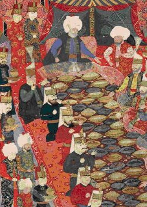 Ottoman painting of a Banquet given by the commander in ...