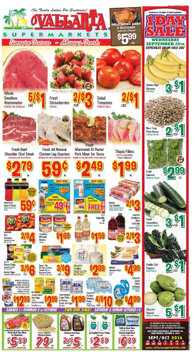 Vallarta Weekly Ad Flyer September 28 - October 4, 2016 - http://www.olcatalog.com/grocery/vallarta-weekly-ad-fleyer.html